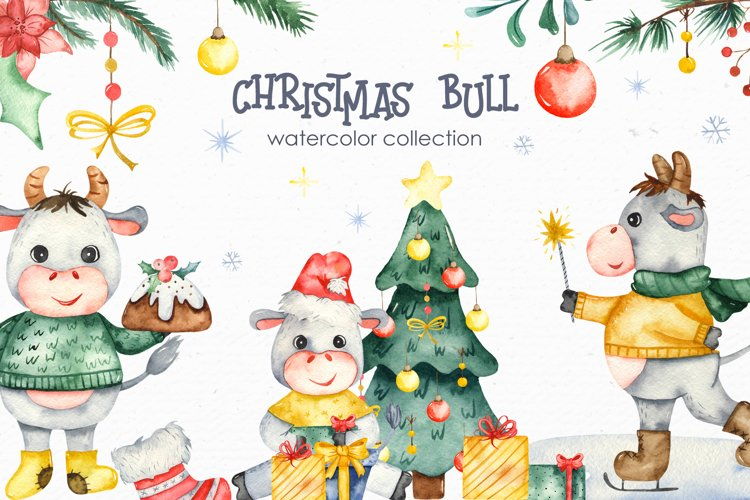Christmas bull Watercolor Clipart example image 1