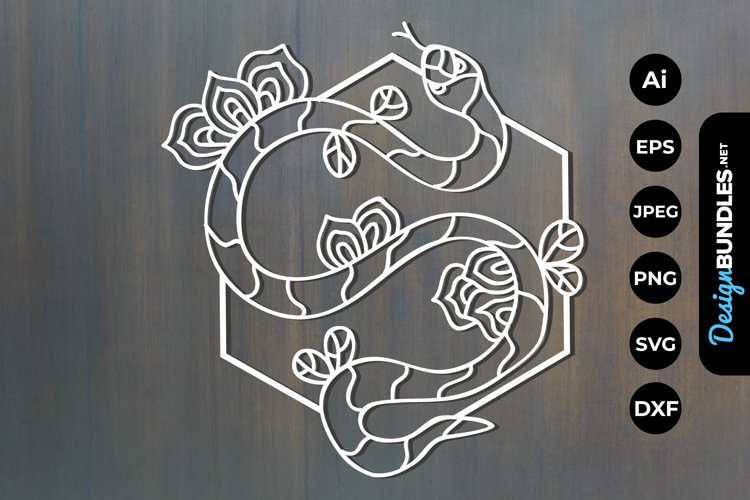 Floral Snake Papercut example image 1