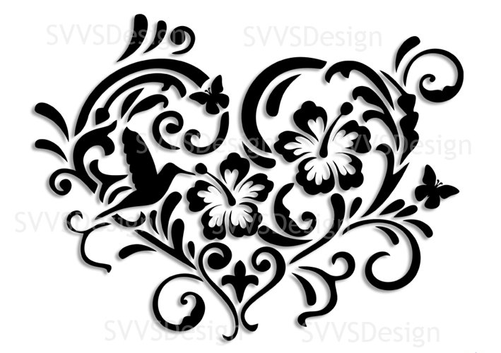 SVG and PNG cutting files, Floral Design, Clipart, Vector, SVG, PNG, Heart, Elements  (sv) example image 1