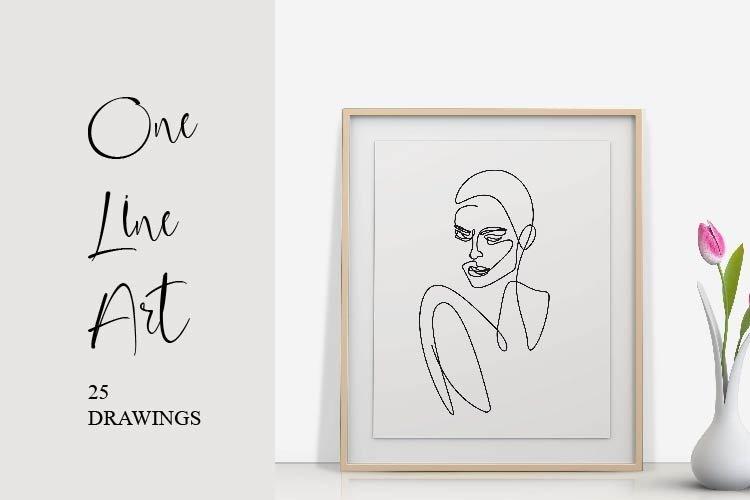 One Line Art Set Woman Portrait Outline Face Minimalist Art example image 1