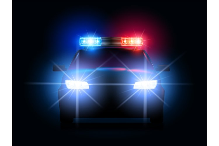 Police car lights. Security sheriff cars headlights and flas example image 1