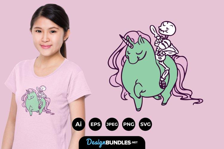 Skull Riding Unicorn for T-Shirt Design example image 1
