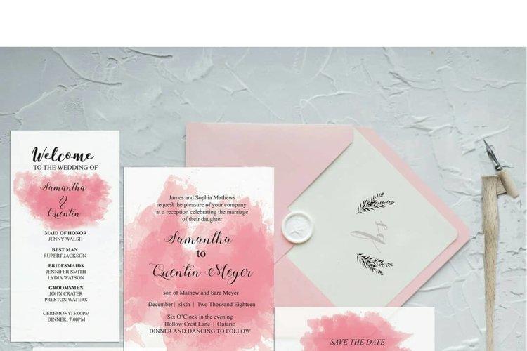 Pink Watercolor Wedding Invite Bundle