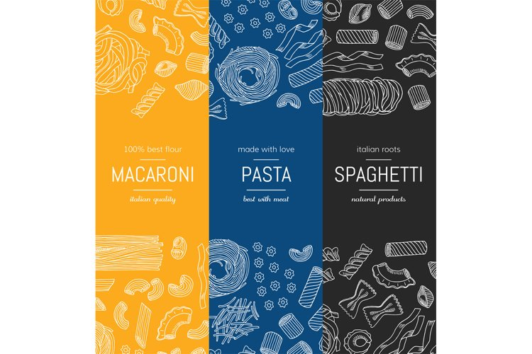 Vector hand drawn pasta types vertical banner templates example image 1