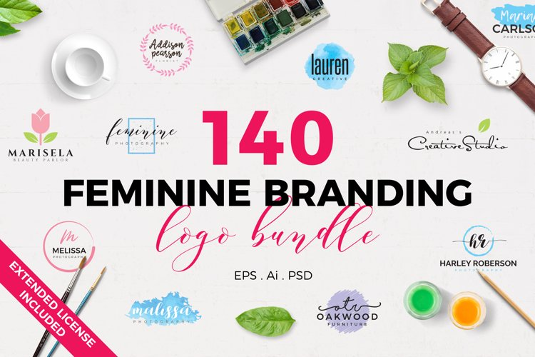 140 Feminine Branding Logo Bundle example image 1