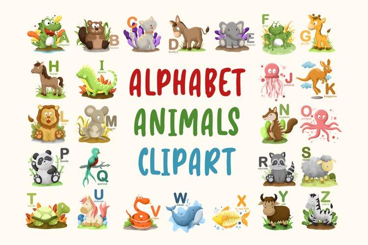 Alphabet Animals Clipart -- 26 Images