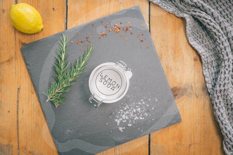 Mockup   mockup mason jar on wooden table   kitchen utensil example image 1