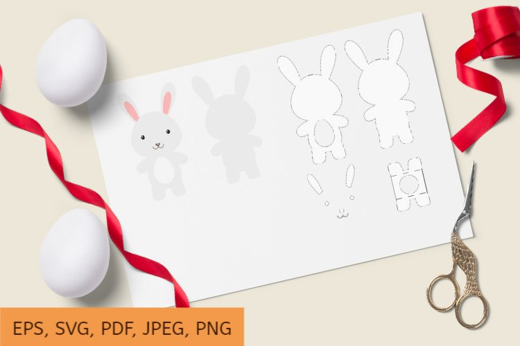 Cute Rabbit Chocolate Egg Holder Design, SVG Cutting File example image 1