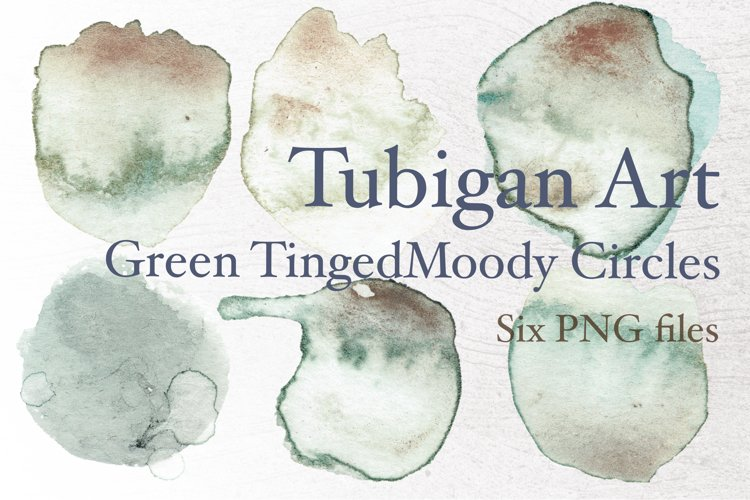 Grungy Green tinged Watercolor circles Logo background example image 1