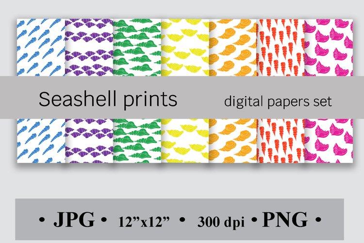 Seashell prints Digital papers set, Scrapbook backgrounds