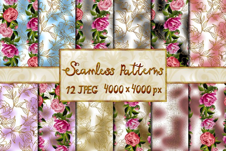 Collection of seamless flower backgrounds example image 1
