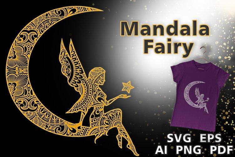 Mandala Magic Fairy design. Fairy on the moon with a star