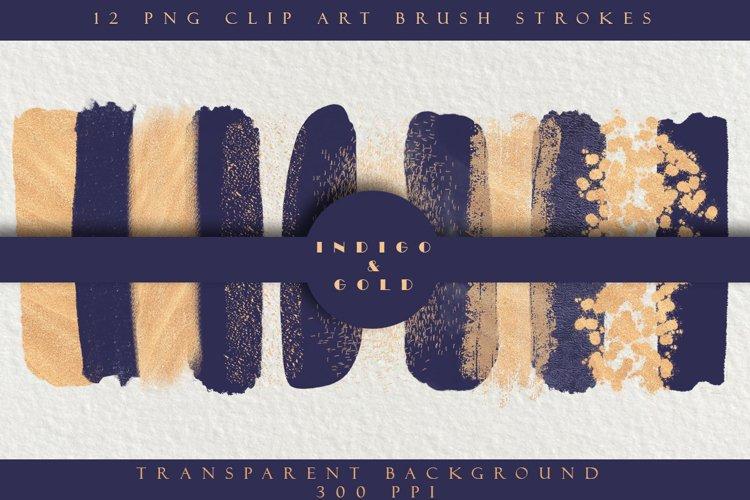 Indigo Blue & Gold Brush Strokes example image 1