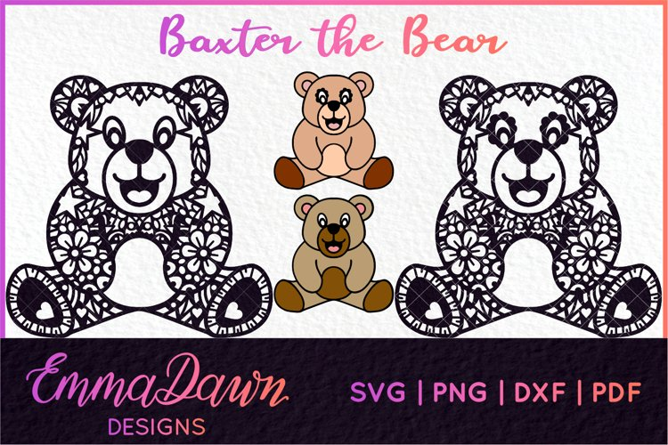BAXTER THE BEAR SVG MANDALA / ZENTANGLE DESIGN example image 1