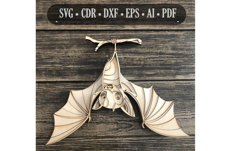 3d mandala svg, Bat svg, Laser cut Files, layered Fruit Bat
