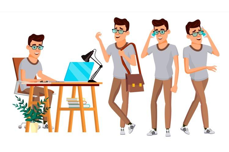 Office Worker Vector. Set. Businessman Worker. Happy Job. example image 1