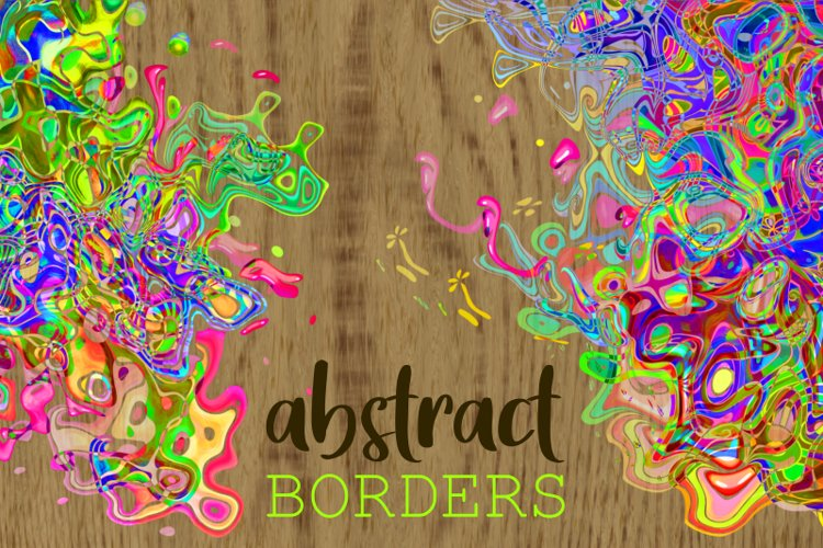Funky Abstract Psychedelic Squiggle Page Border Elements example image 1