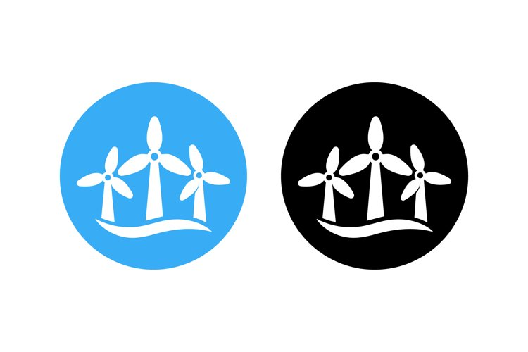 Wind turbines icon set label. Wind farm energy sign. example image 1