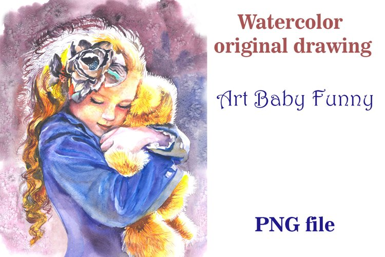 Art Baby Funny, Watercolor original drawing example image 1