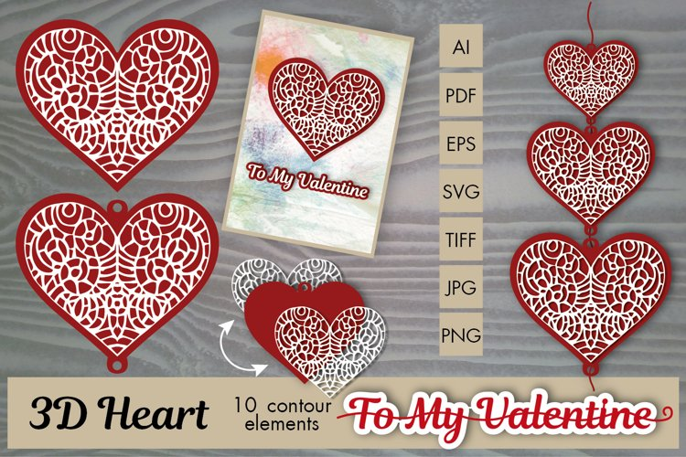 3D Heart Contours for Valentin's Day - gifts, cards, designs example image 1
