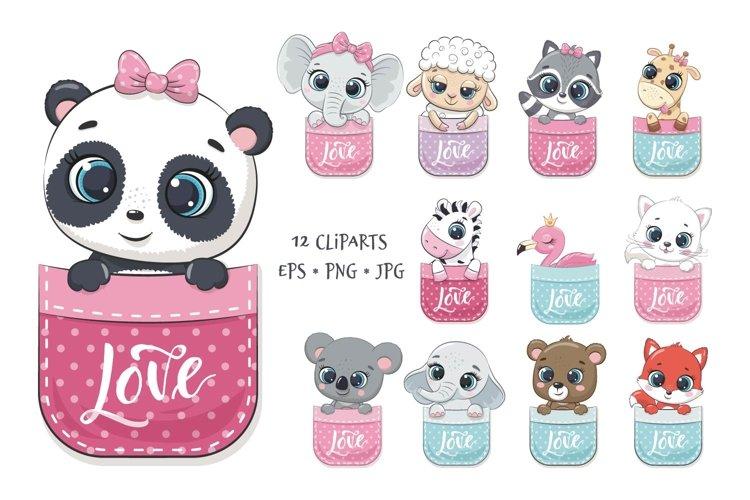 Set of cute animals in pocket, PNG, JPG, EPS, 300 DPI