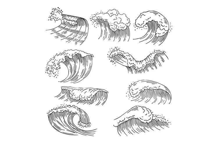 Marine illustrations of water splashes and big waves. Vector example image 1