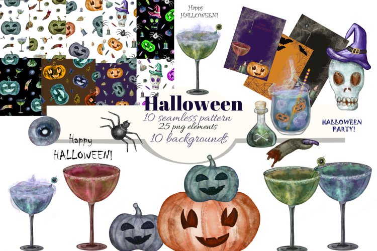 Halloween watercolor clipart. Halloween patterns, cards. example image 1