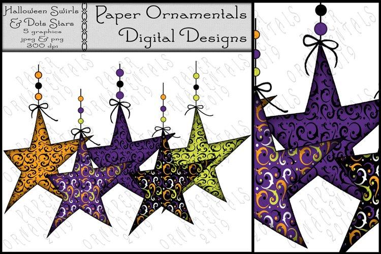 Halloween Clip Art, Swirls & Polka Dot Hanging Prim Stars #5 example image 1