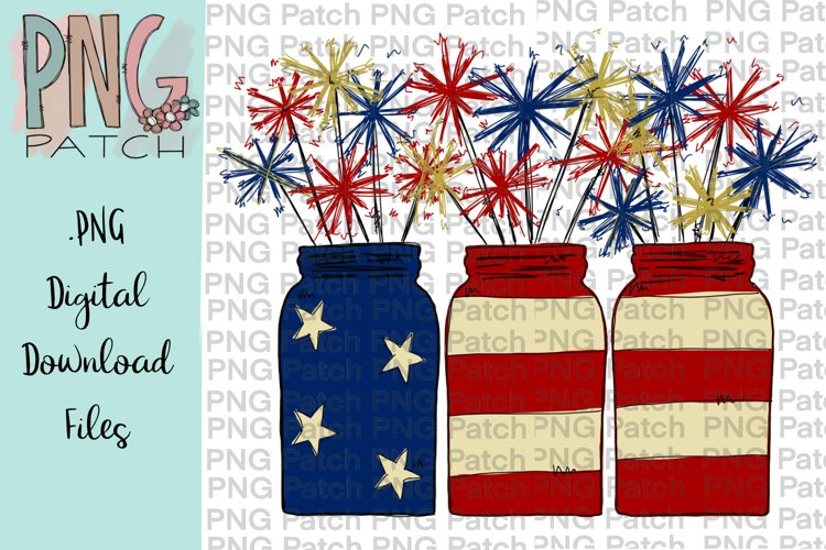 Mason Jar with Sparklers, Fourth of July, USA PNG Files example image 1