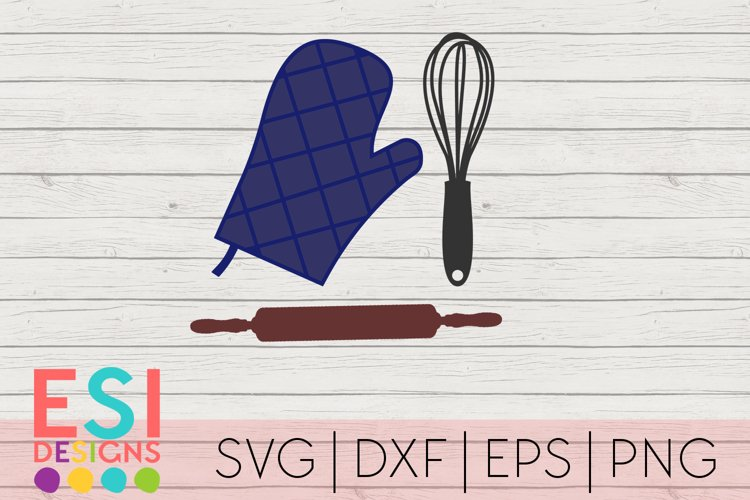 Baking SVG | Kitchen SVG| Whisk, Rolling Pin, Oven Glove