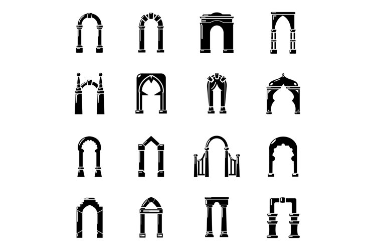 Arch types icons set, simple style example image 1