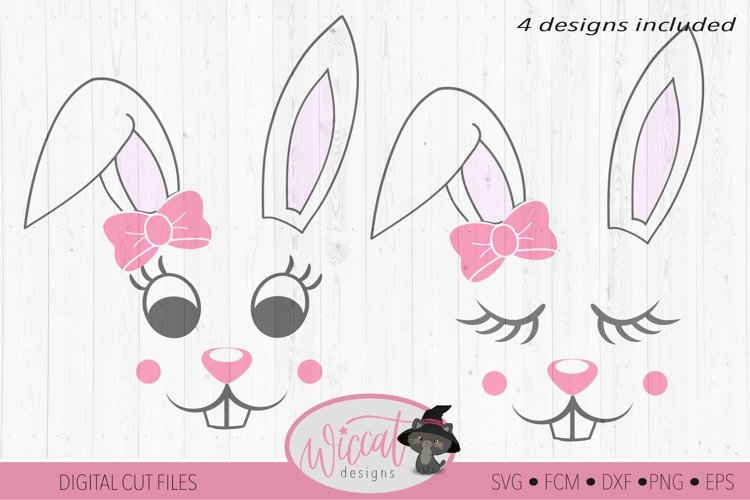 Easter Bunny face svg, Girl bunny face svg, cut file example image 1