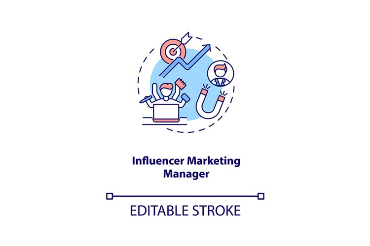 Influencer marketing manager concept icon example image 1