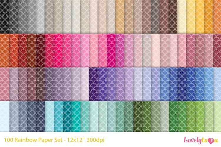 Double-edge mermaid scales, 100 colors seamless paper example image 1