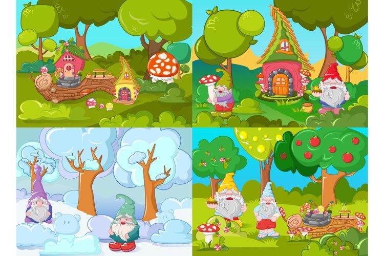 Gnome garden banner concept set, cartoon style example image 1