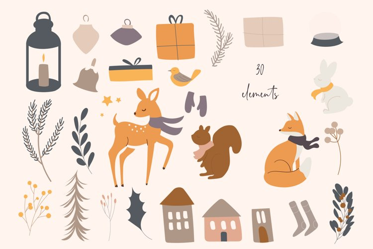 Winter Woodland Animals Vector Clipart example 2