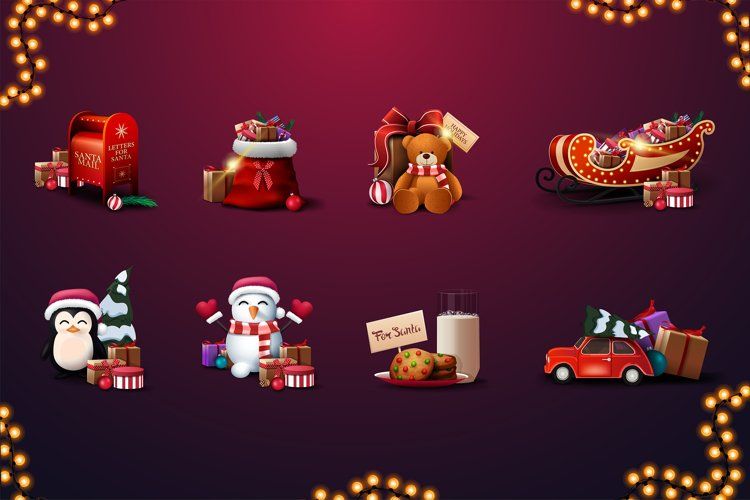 Christmas volumetric vector icons example image 1