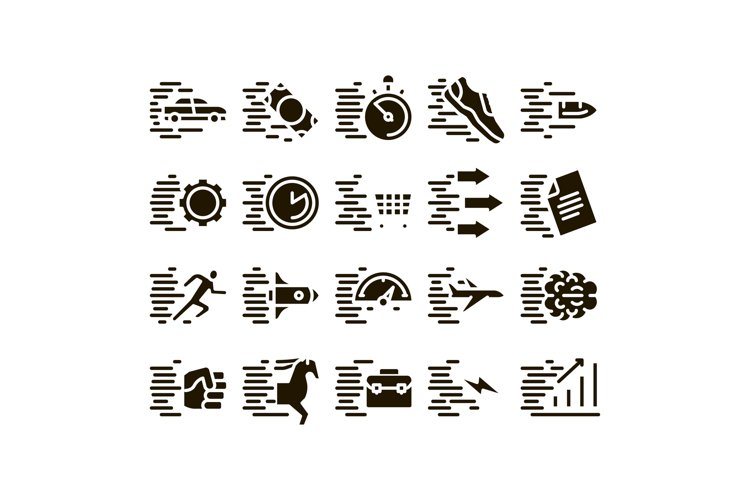 Speed Fast Motion Glyph Set Vector example image 1