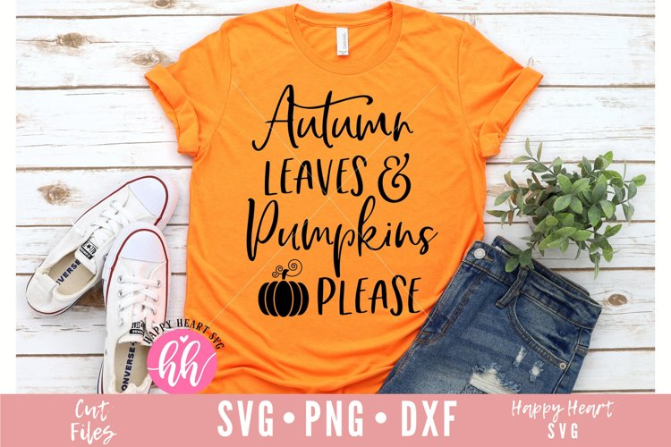 Autumn Leaves And Pumpkins Please SVG example image 1