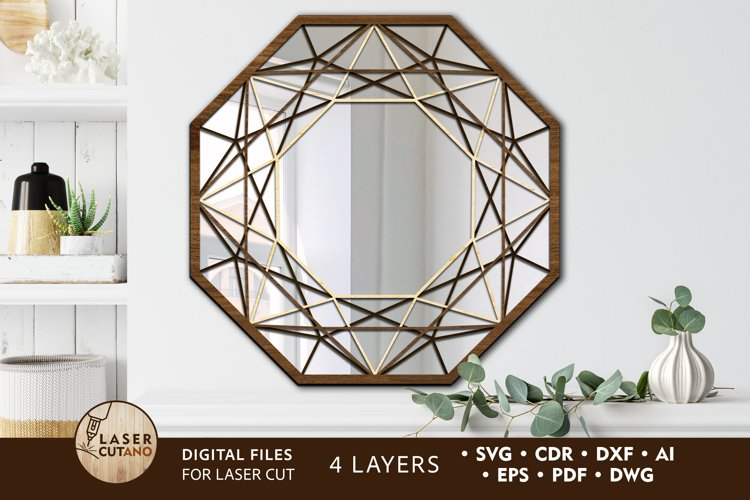 Multilayer Cut File Round Wall Mirrow Frame