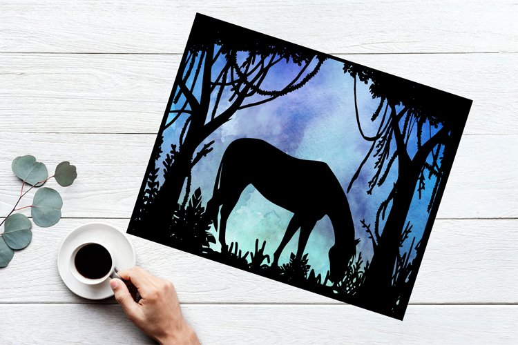 Horse Papercut Template, Horse SVG, Forest SVG, Animal SVG