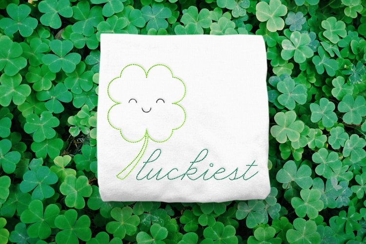 Linework Luckiest Clover St. Patricks Day Embroidery Design