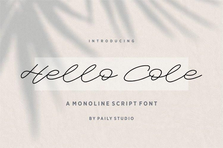 Hello Cole Monoline Script Font example image 1