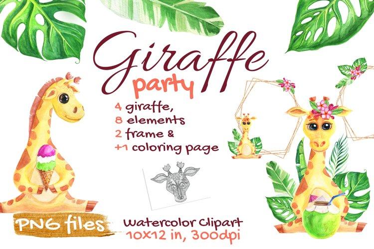 Cute Giraffe Watercolor Tropical Safari, African, Jungle example image 1