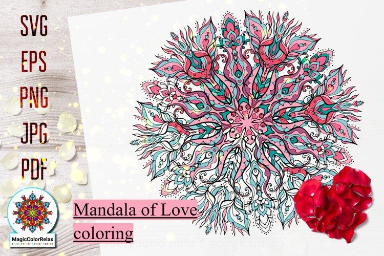 Mandala svg files for Coloring, Love mandala antistress