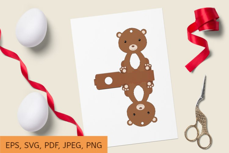 Cute Bear Chocolate Egg Holder Design, Print and Cut example image 1