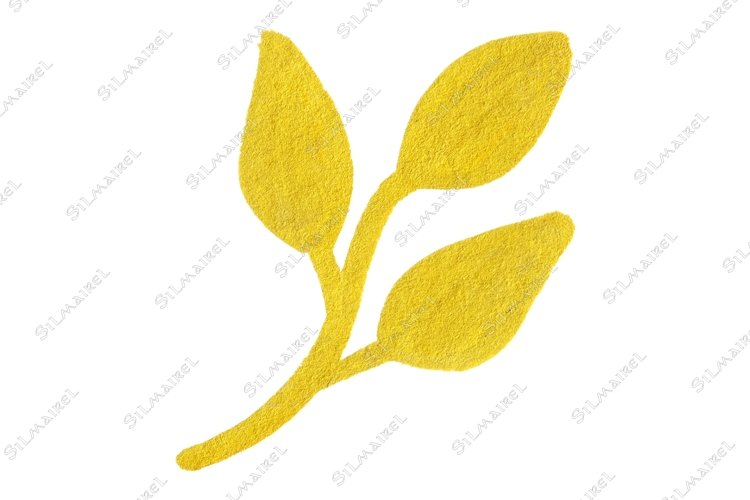Golden yellow velvet leaf branch symbol isolated example image 1