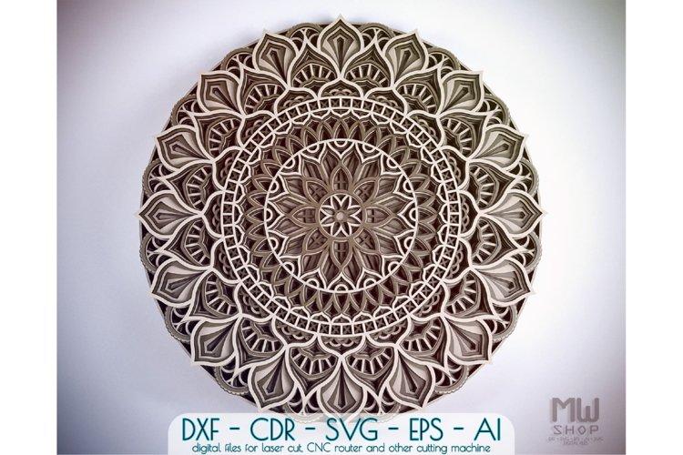 M60 - Circular Mandala DXF file, Multilayer Mandala Pattern