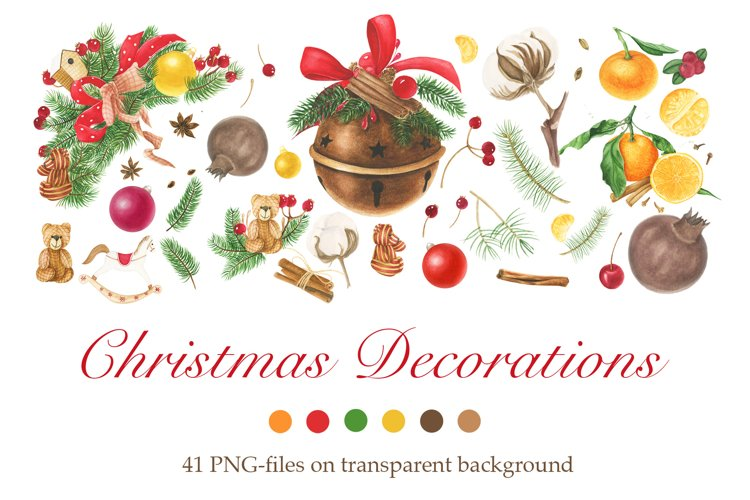 Watercolor Christmas Decorations Clipart example image 1