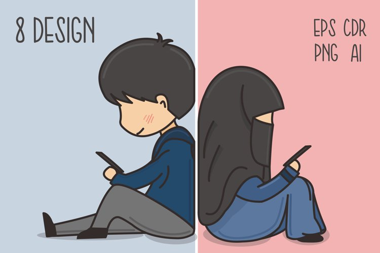 Muslim Hijab Character Vector Illustration